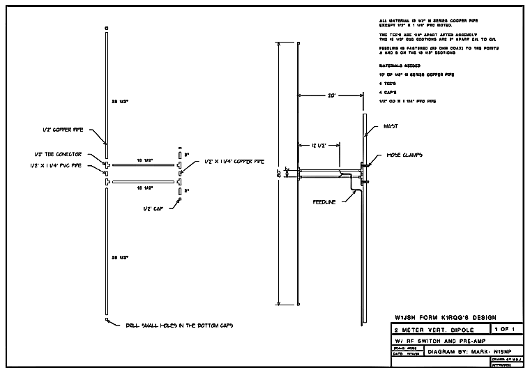 2m Copper Dipole Schematics