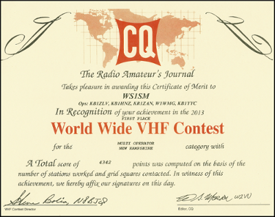CQWW VHF 1st Place WS1SM