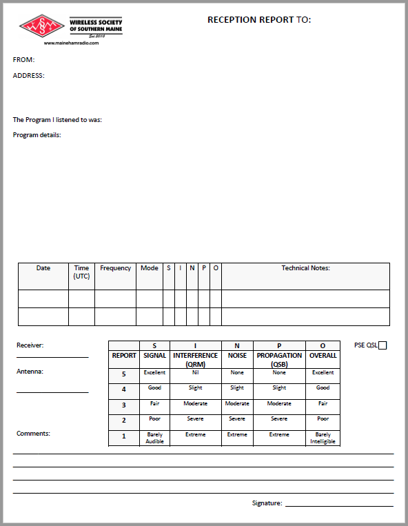 WSSM Reception Report Form