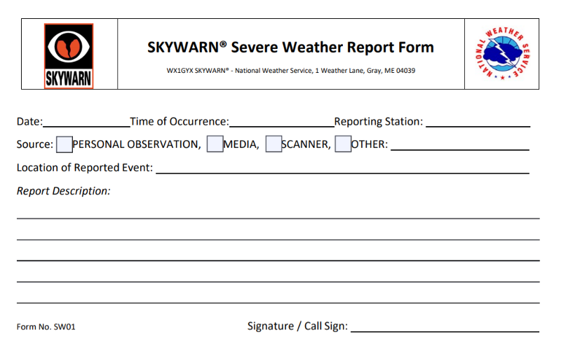 SKYWARN Severe Weather Report Form